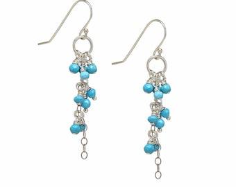 Sleeping Beauty Turquoise Earrings, Silver Dangles, Cascading Earrings, Delicate, Blue, Waterfall
