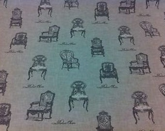 Vintage 100% Cotton label chair antique linen look Upholstery Curtain Fabric