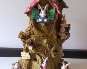 Vintage Easter Tree Figurine - Loads of Resin Bunnies