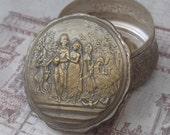Antique Silver plated Snuff Box, Trinket Box, Jewelry Box, Pill Box, Victorian Wedding Scene