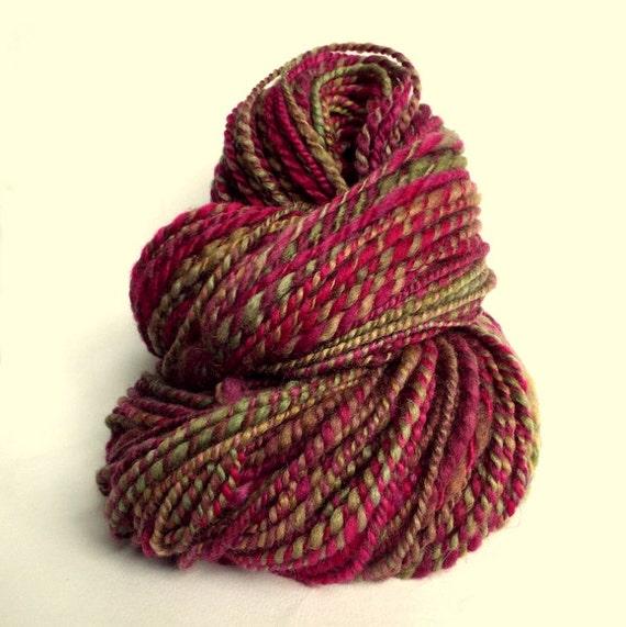 Knitting Handspun Yarn : Thick wool handspun bulky knitting yarn chunky olive green