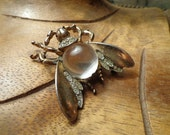 Trifari Large Sterling Jelly Belly Fly cabochon eyes pave stones on wings