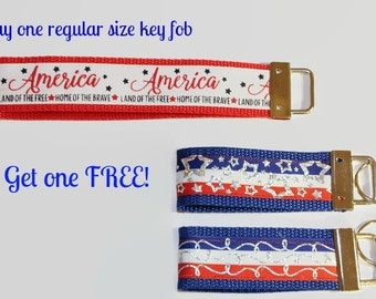 Fourth of July key fob/ America, Land Of The Free, Home Of The Brave ribbon keychain/ Buy one large key fob get a mini key fob for FREE.