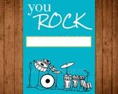 Printable Music Valentine Cards. DIY Drum Set Valentine's Day Cards. Boy Valentine Cards. You Rock Valentine.