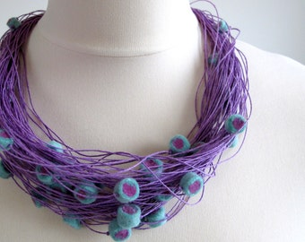 Felt Lavender Linen String Necklace Sushi Swirl Felted Beads Handmade Merinowool High Fashion Folk