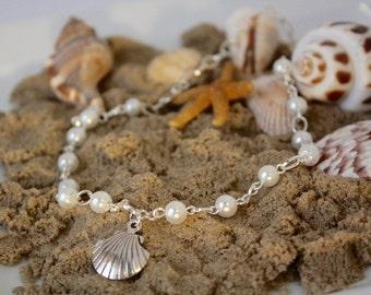 Seashell Necklace - Destination Wedding - Flower Girl Necklace - Beach Wedding - Flower Girl Jewelry - Shell Charm Necklace - Annabelle