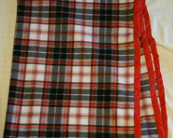 """Hand Crafted Red and Blue Plaid Fleece Blanket 40"""" X 66""""  NEW"""