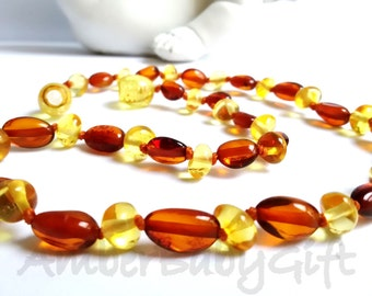 Baltic Amber Teething Necklace, Genuine Baltic Amber, Cherry, Cognac Amber Necklace, Baby Necklace, Toddler Necklace
