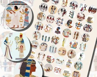 Egyptian Hieroglyph Printables, ONE INCH CIRCLES (25 mm), 48 Illustrations Included