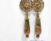 Bohemian Earrings Dangle Earring 2 inch Brown Gold Earring Boho Jewelry Lever Back Earrings