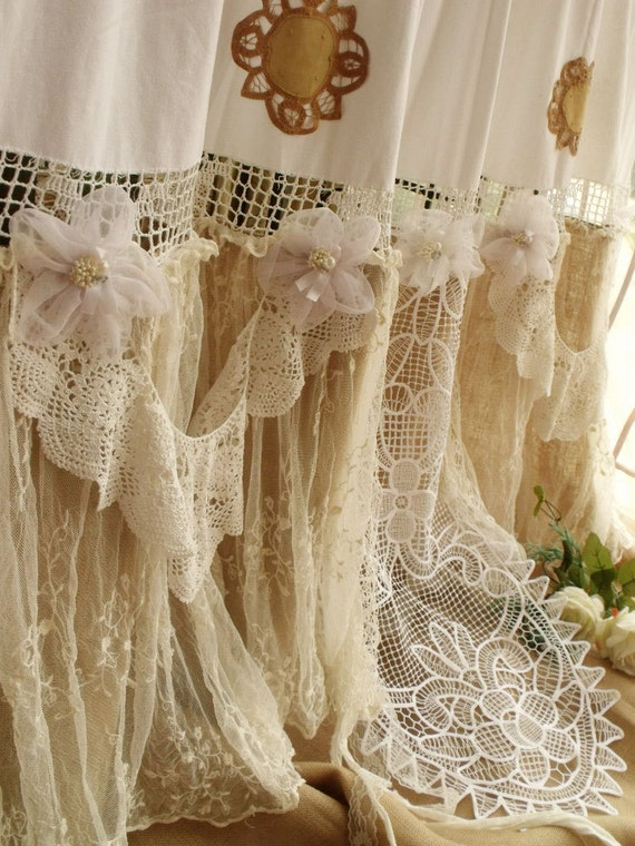 Shabby Cottage Chic Burlap Shower Curtain White Rosettes