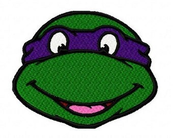 Teenage Mutant Ninja Turtle TMNT head machine embroidery design 4 inch instant download