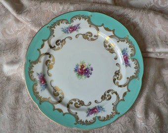 Royal Bayeuth Turquoise Gold Floral Luncheon Salad Tea Plate