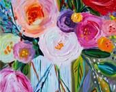 "NEW! Still LIfe, Abstract Floral painting, Original Art, Spring flowers, Framed Art, 16"" x 20"", ""Jen"", by Carolyn Shultz"