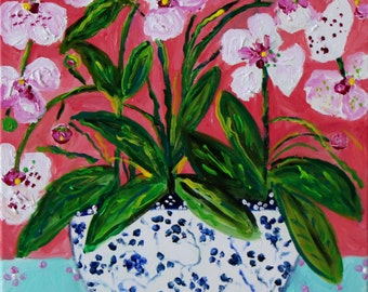 """NOW ON SALE! Orchids in Blue and White Ginger Jar Painting, White and PInk Orchids, Framed Flower painting,  Still Life, 16"""" x 20"""", """"Livy"""""""