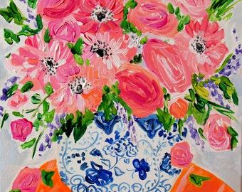 """NEW! Flowers in Blue and White Ginger Jar, Floral Still Life, FRAMED Fine Art PRINT,Coral roses and Daisies, """"Allison"""" by Carolyn Shultz"""