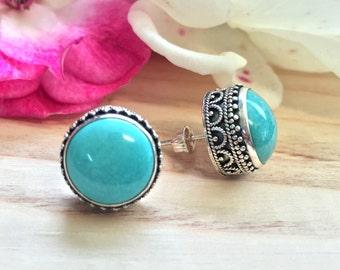 Sterling Silver .925 Turquoise Round Bali Stud Earrings, December Birthstone Earrings, Gift For Here