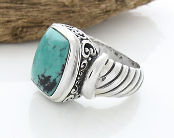 Sterling Silver Rectangle Turquoise Ring, Tribal Jewelry, Sterling Silver Rectangle Turquoise Ring, Turquoise Ring