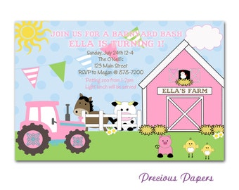 Digital Farm birthday invitations Girls Pink Farm Birthday Party Invitations Girls Farm Printable Download within 24 hours
