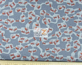 100% Cotton Fabric By Benartex Fabrics - Crawly Critters Red Ants - Sold By The Yard (FH-2101) Colony