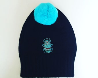 Huge Bug Beanie - Winter Hat, Fall Accessories, Embroidered Hat, Pom Pom Hat, Fashion, Warm Beanie, Insect , Blue, Ready to Ship