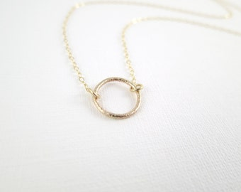Simple Gold Circle Necklace | Gold Filled Dainty Circle Necklace