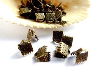 20 Antique Bronze Crimp End Caps - 1-5-6