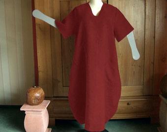 Plus sizes - US 18 - 34, UK 20 - 36 , Balloon dress, V- neckline, European Layering Look - linen,brick red