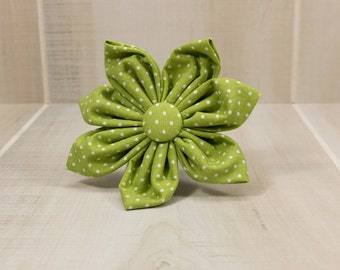 Dog Collar Flower, Fabric Flower, Dog Collar, Green and White Polka Dots with matching center