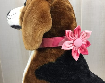 Dog Collar Flower, Fabric Flower, Dog Collar, Pink Camo