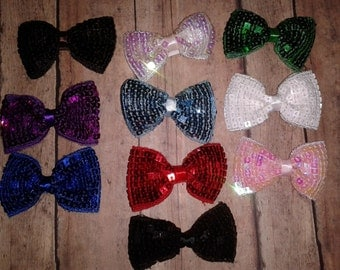"3"" Sequin Hair Bow, Infant Bow, Toddler Bow"