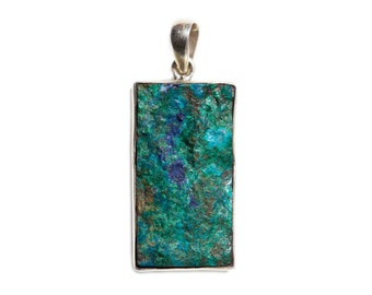 Raw Turquoise Azurite & Silver Pendant