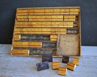 Vintage 1940's Era Rubber Stamp Set | Wood Handle Rubber Stamps | Wood Storing Box | Images from A-Z | Set of 50 Stamps | Vintage Crafts