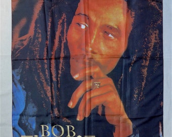 "Bob Marley textile poster, vintage.  A photographic image textile poster, logo ""1993 Bob Marley Music Inc./H.R. Italy."