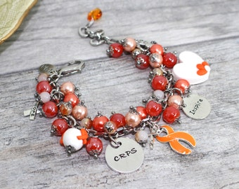 RSD CRPS bracelet in Stainless Steel | Chronic Regional Pain Syndrome | Orange Awareness Bracelet | Leukemia | Kidney Disease