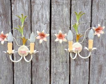 Vintage Italian toleware floral WALL SCONCES Pair  tole fixtures