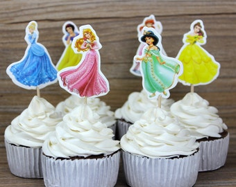 72pcs/lot Princess Party Theme Cupcake Toppers Picks Decoration for Kids Birthday Party Favors Decoration Supplies Wholesale