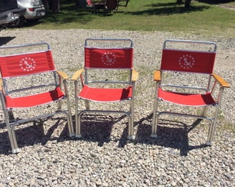 3 Vintage EEz-In Marine Products Aluminum Red Captains Folding Chair