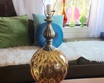 Vtg Mid Century modern eames era retro Amber Glass Globe Table desk Lamp brass