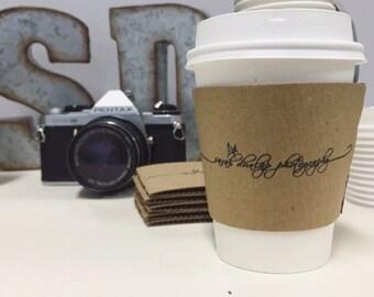 100 Custom Coffee Sleeves with CUSTOM STAMP