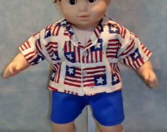 15 Inch Doll Clothes 4th of July Flag Shirt Shorts Set for Boys handmade by Jane Ellen to fit 15 inch boy dolls