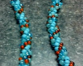 Blue and Brown Long Beaded Necklace Handmade - Spiral Bead Weaving Necklace - Long Beaded Jewelry