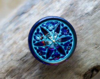 18mm Volcano Vitrail with Turquoise Wash Bethlehem Star Czech Glass Button, 2815, 18mm Volcano Vitrail Turquoise Czech Glass Bethlehem Star