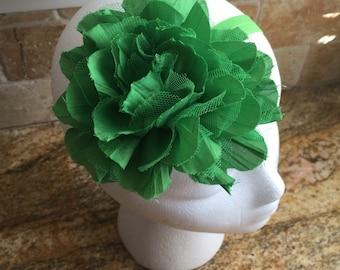 Large Apple Green St. Patrick Day Flower Headband or Hair Clip, Baby Girl Flower Headband, Toddler Girl Headband, Girl Flower Headband