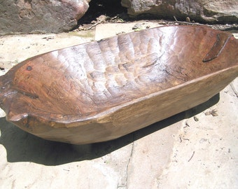 Hand Carved Wood Dough Bowl Treenware TRENCHER 0895 et