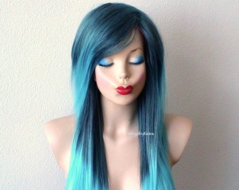 Dark blue /Teal Ombre wig. Long straight hairstyle long side bangs wig. Durable quality wig for daily use or Cosplay.