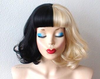 Blonde/Black wig. Half Blonde Half Black wig. Short wavy hair short bangs Blonde /  Black side by side wig for daily use or Cosplay.