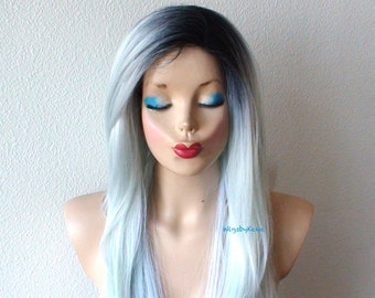 Mint Silver wig. Lace Front wig. Long straight hair mint silver color dark roots wig. Durable Heat friendly wig for daily use or Cosplay