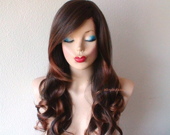 Brown / Auburn wig. Long volume layered curly hair long side bangs Durable Fashion hairstyle wig  for daytime use or Cosplay