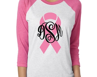 Breast Cancer Awareness Tee w/ Initials. Personalized Raglan Tee. Pink Breast Cancer ribbon.